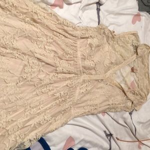 Tan color dress with lace
